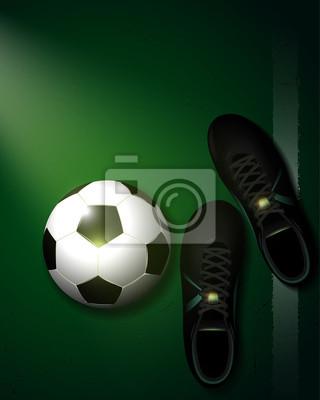 zielonym tle piłka nożna