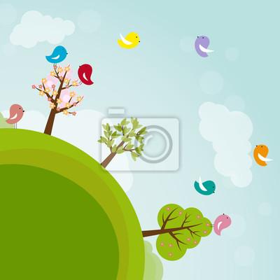 Ziemia Cartoon z drzew i ptaków