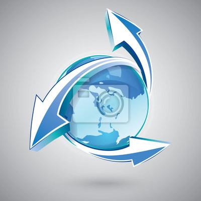 Ziemia ze strzałkami niebieską ikonę
