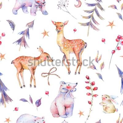 Naklejka Zima akwarela vintage wzór z słodkie niedźwiedzie polarne, jelenie, płowe, zając i magiczny las na białym tle, świąteczne dekoracje, ilustracja kreskówka wakacje