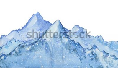 Naklejka zima śnieżny niebieski szczyt akwarela. Ręcznie rysowane zimowych ilustracji na białym tle.