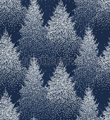 Naklejka Zima wzoru wzoru i jedlinowych połączeń i sosnami w śniegu. Las iglasty. Świąteczne dekoracje. Ilustracji wektorowych