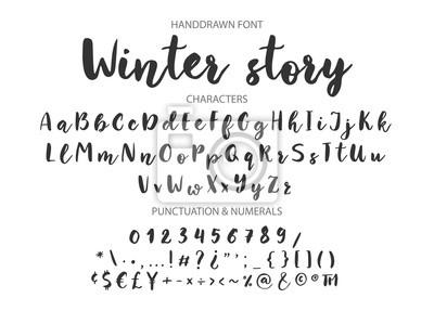 Zimowa historia. Odręczny pędzel czcionka do cytatów literowych. Ręcznie rysowane pędzla styl nowoczesnej kaligrafii.