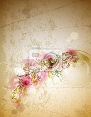 Złom tła z kwiat oddziału wyciągnąć rękę