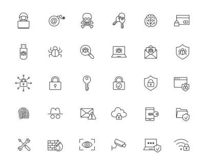 Naklejka złośliwe oprogramowanie cyberataku ochrony linii czarne ikony ustaw na białym tle