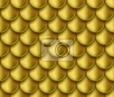 Złota folia syrenka ogon tekstura tło. Realistyczny złoty skali wzór. Wektor elegancki, błyszczący i metalowy gradient skóry szablon ryby na granicy, projekt ramki.