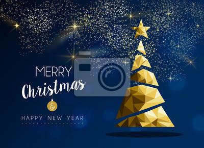 Złota karta sosny Wesołych Świąt i Nowego Roku