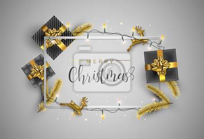 Złota ramka na kartki świąteczne z dekoracją prezentów