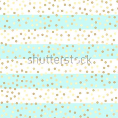 Naklejka Złote błyszczące krople na turkusowych i białych paskach. Bezszwowe wektor wzór na tle pasiasty mięty i złota. Tło błyszczące wakacje. Złoty brokat wzór. Złote tło folii metalowej.