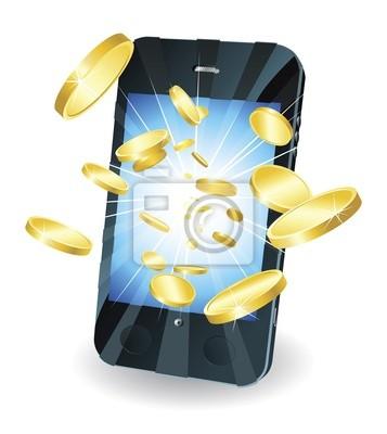 Złote monety latające z inteligentnego telefonu komórkowego
