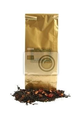 złote opakowanie herbaty z pustą etykietą archiwalne