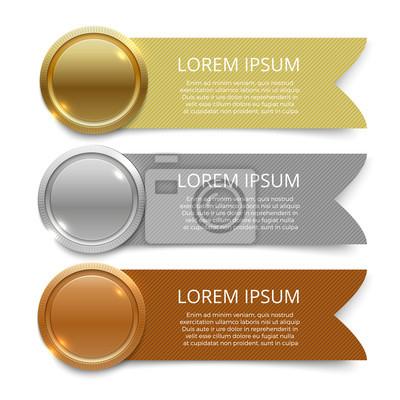 Naklejka Złote, srebrne i brązowe banery medale