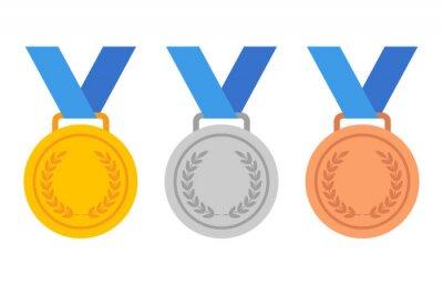 Naklejka Złote, srebrne i brązowe medale z niebieską wstążką płaskie wektorowe ikony dla aplikacji sportowych i stron internetowych
