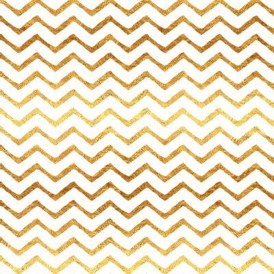Naklejka Złoto Faux Folia Chevron Metallic białe tło wzór