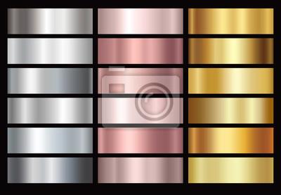 Złoto róża, srebro i złoty folia gradacja tekstura tło zestaw. Wektor błyszczące i metalowe kolekcja gradientu na granicy, ramki, wstążki, projekt etykiety.