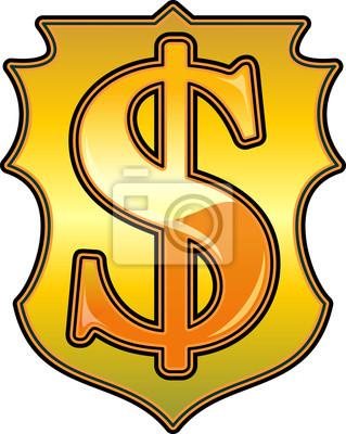 Naklejka Złoty Dolar ikona, element projektu