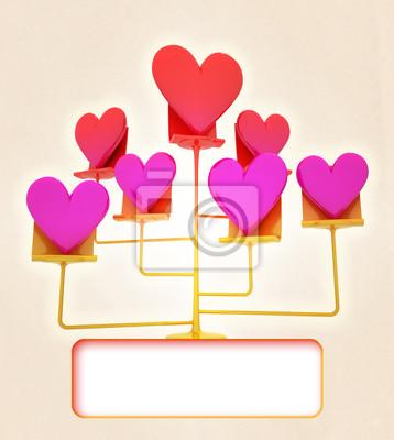 złoty, różowy, czerwony stand serca karty