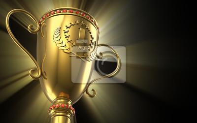 Naklejka Złoty świecące puchar trofeum na czarnym tle