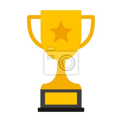 Naklejka Złoty trofeum osiągnięć z gwiazdą za zwycięstwo mistrzowskie płaskie ikonę wektorowe lub ilustracji