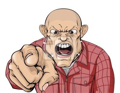 Zły człowiek z ogoloną głową krzycząc i wskazując