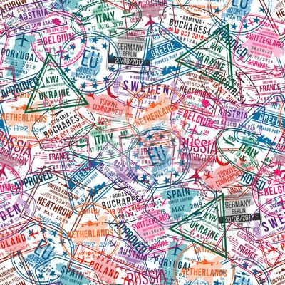 Naklejka Znaczki wizy paszportowe, wzór. Pieczątki do biura międzynarodowego i imigracyjnego. Koncepcja podróży