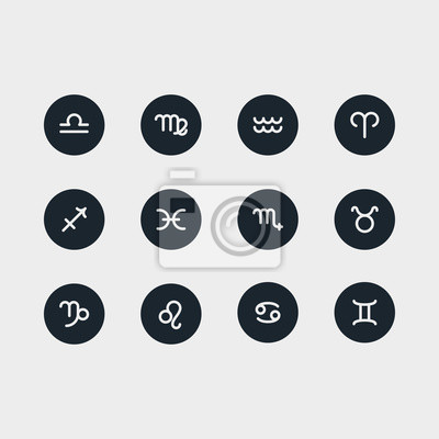 Znaki zodiaku Minimalistyczna liniowa linia Circle Solid Stroke Icon Piktogram Symbol Set Collection