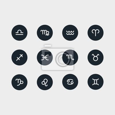 Znaki Zodiaku Minimalistyczny Linia Linii Stałych Symetrii Stroke Icon Piktogram Zestaw Zestawów Symbolów