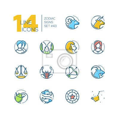 Znaki zodiaku - zestaw kolorowych ikon stylu linii