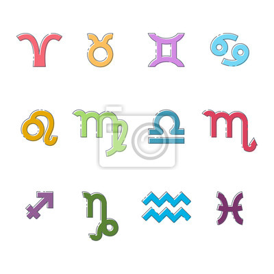 Zodiac sign. Vector flat linear set of colored icons of astrological symbols isolated on white background.