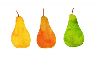 Naklejka żółte, pomarańczowe, zielone gruszki izolowane