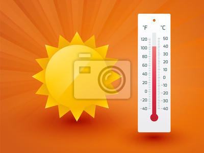Naklejka Żółte słońce z termometrem