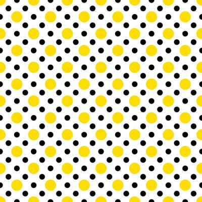 Naklejka Żółto-czarne kropki na białym tle tapety