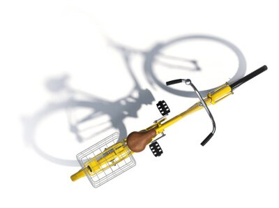 Naklejka Żółty stylu Vintage Bike Top View