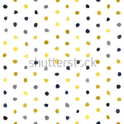 Naklejka Żółty szary granatowy musztarda polka dot wzór na białym tle. Tekstura kamień wielokąt okrągły. Abstrakcjonistyczny wektor dla druków, tkanina, opakowanie, tkanina, pakunek, pokrywa, kartka z pozdrowi