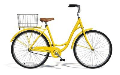 Naklejka Żółty Vintage Style rowerów odizolowane na białym