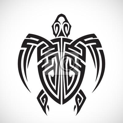 Naklejka Żółw plemiennych na białym tle.