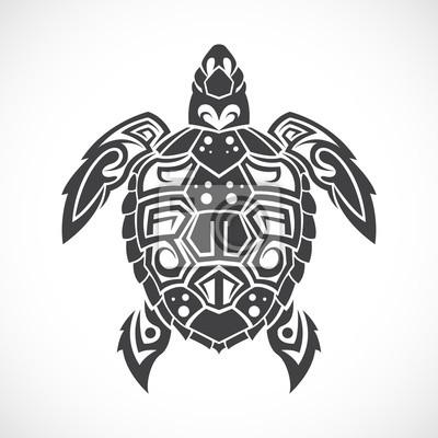 Naklejka Żółw w tribal na białym tle.