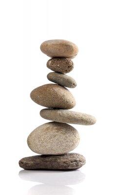 Naklejka Zrównoważony stos kamieni rzecznych różnych