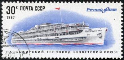 ZSRR - CIRCA 1987 Znaczek wydrukowany w ZSRR pokazuje Ship Soviet Union Circa 1987