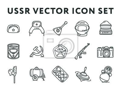 ZSRR i Rosja ZSRR Związku Radzieckiego Vintage Minimal Color Vector Line Zestaw ikon kolekcji. Hełm kosmiczny, sproszkowany mleko, pistolet maszynowy, aparat fotograficzny, spinning top, młot i kość.