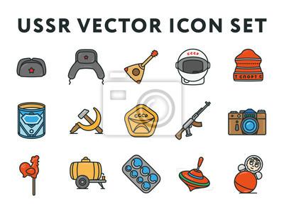 ZSRR i Rosja Związku Radzieckiego Vintage Minimal Vector Line Icon Collection Zestaw. Hełm kosmiczny, sproszkowany mleko, pistolet maszynowy, aparat fotograficzny, spinning top, młot i kość.