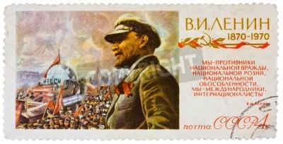 ZSRR - OKOŁO 1970: Stempel drukowane w Rosji (ZSRR) pokazuje Władimir Iljicz Lenin był rosyjski rewolucjonista, przywódca bolszewików, polityk komunistyczny, circa 1970