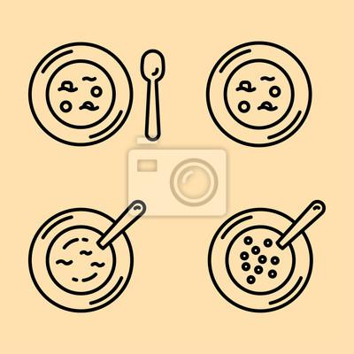Zupa łyżka Dish Łyżka minimalistyczna Flat Line Outline Ikona Obrysu Zestaw Piktogramów Symbol Set Collection