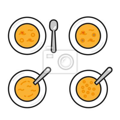 Zupa łyżka do naczyń Minimalistyczna kolorowa linia płaska Obrys Szkło Ikona Piktogram Zestaw symboli kolekcji