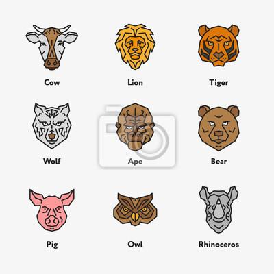 Zwierzę głowa twarz kolor wektora emblemat Minimalistyczny Geometryczny Line Icon Set. Krowa, lew, tygrys, wieprz, sowa, nosorożca, wilk, nosorożca, małpa
