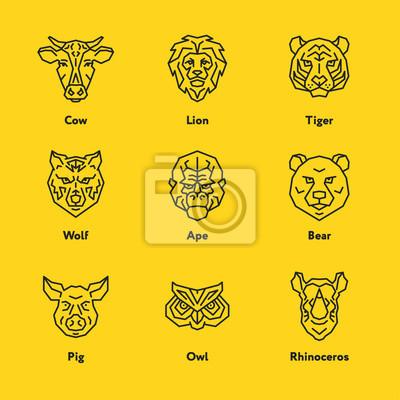 Zwierzę głowa twarz wektorowa emblemat Minimalistyczny Geometryczny Linia Icon Set. Krowa, lew, tygrys, wieprz, sowa, nosorożca, wilk, nosorożca, małpa