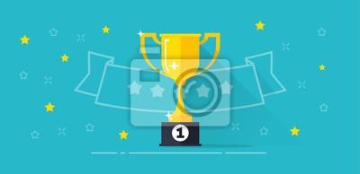 Naklejka Zwycięzca nagrody banner ilustracji wektorowych, płaskie kreskówki trofeum złote puchar z pierwszego miejsca nagroda i linia zarys taśmy z gwiazdami, nagrody konkursowe, pomysł zwycięstwa, mistrzostwa
