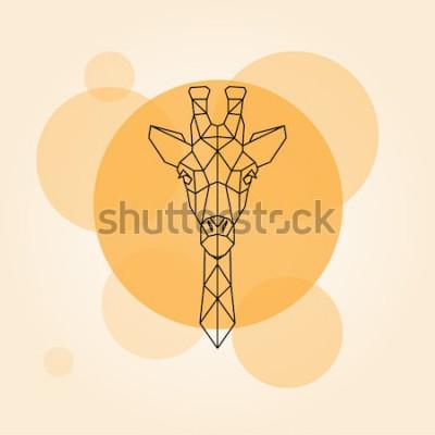 Naklejka Żyrafa głowy geometryczne linie sylwetka na białym tle na pomarańczowym kole. Ilustracji wektorowych.