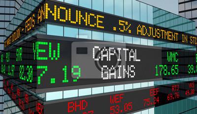 Naklejka Zyski kapitałowe Przychody z inwestycji Przychody na giełdzie Ticker 3d renderowanie ilustracji