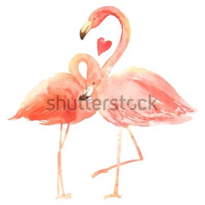 Naklejka Żywe koralowe flamingi w miłości. Akwarela kartkę z życzeniami szczęśliwych walentynek. Wyciągnąć rękę. Różowy